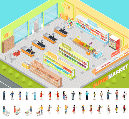 marketeer: Supermarket interior in Isometric projection. 3D illustration of big trading room with product sections shelves, goods, customers, personnel, sellers, cashes. Consumers and sellers editable isolated