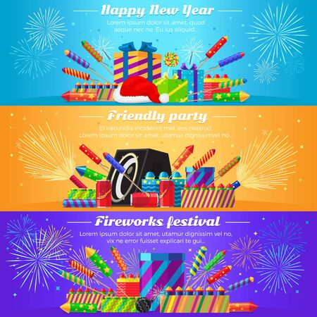 interesting: Happy New Year. Friendly party. Fireworks festival. Set fireworks. Different kinds of bright and great firecrackers. Interesting decorations. Colourful backgrounds. Flat design. Vector illustration