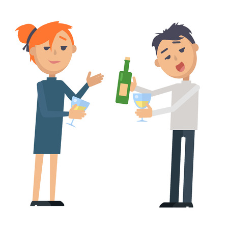 Boy and Girl with Glass Wine and Bottle Isolated