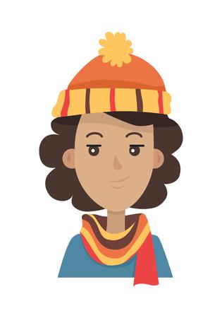 scarf: Hat. Brunette in Orange Knitted Headwear and Scarf