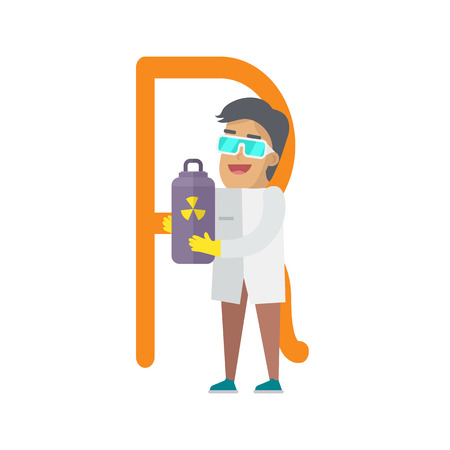 R Letter and Scientist with Radiation Container. Illustration