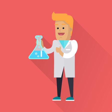 analyst: Scientist at Work Vector Flat Style Illustration