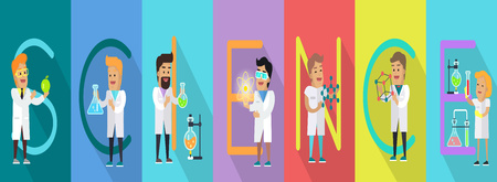 Science Conceptual Vector Banner. Human Characters Illustration