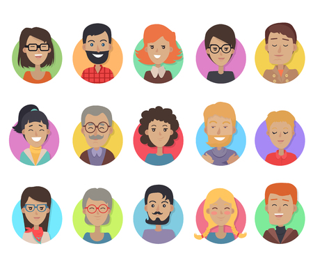 Icons Set mit Lächeln Menschen unterschiedlichen Alters