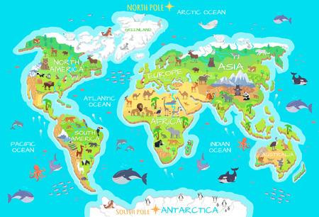 Animals and Where They Live. Our Planet. Earth. Stock Vector - 70790989