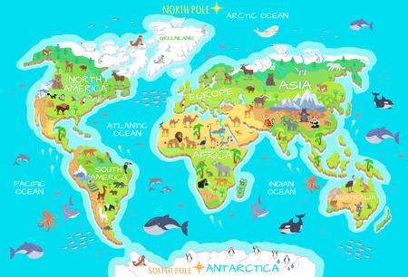 Dieren en waar ze wonen. Onze planeet. Aarde. Stock Illustratie