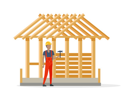 Builder in Helmet and Robe near Constructing House