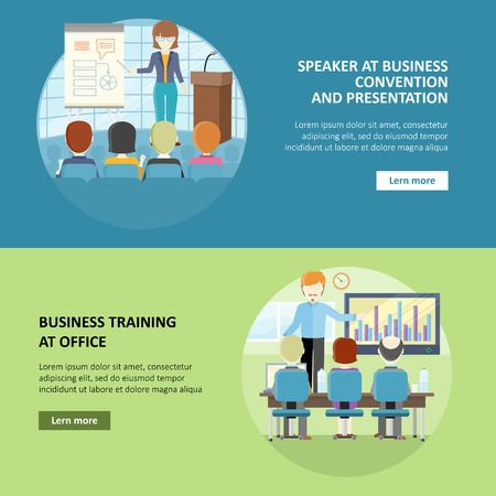 briefing: Set of Business Education Vector Web Banners. Illustration