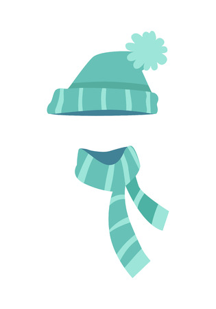 Knitted Modern Hat and Scarf with Stripes. Vector Illustration