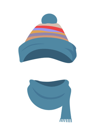 Hat. Colourful Striped Headwear and Twisted Scarf Illustration