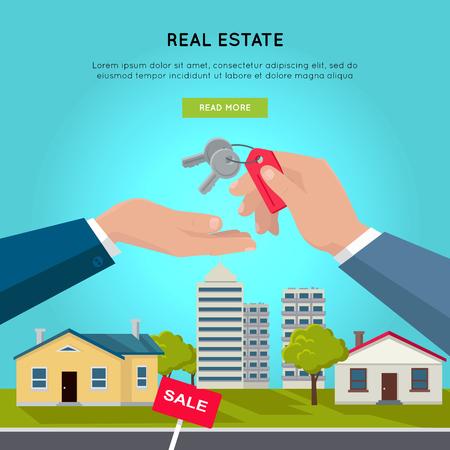 Real Estate Vector Web Banner in Flat Design.