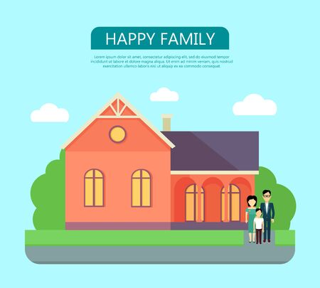 Happy Family in the Yard of Their House Illustration
