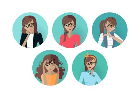 userpic: Set of Userpic of a Business Lady. Woman at Work Illustration