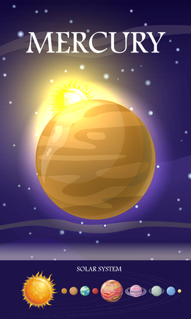 smallest: Mercury Planet. Sun System. Universe. Vector Stock Photo