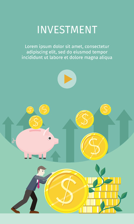 Investment Concept Flat Style Vector Illustration Stock Photo