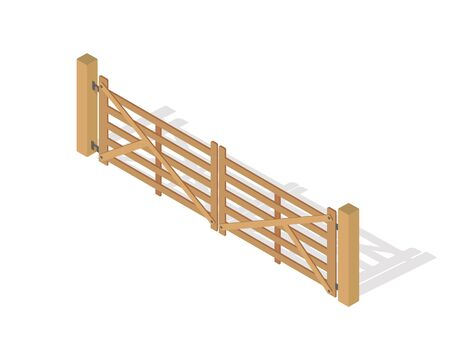 Wooden Fence Isolated on White with Columns.