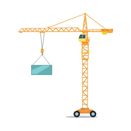 maneuverable: Industrial Yellow Crane Lifting Heavy Glass Elemet
