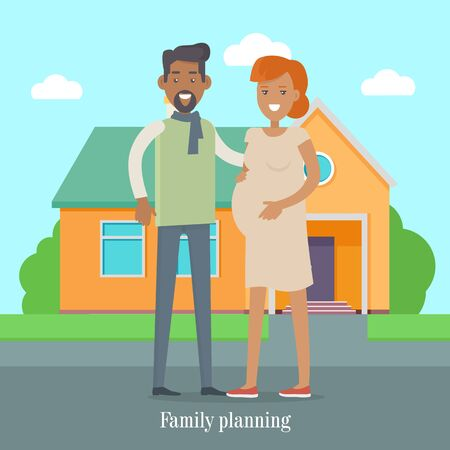 planificacion familiar: Family Planning Banner. Man and Woman Expect Baby Vectores