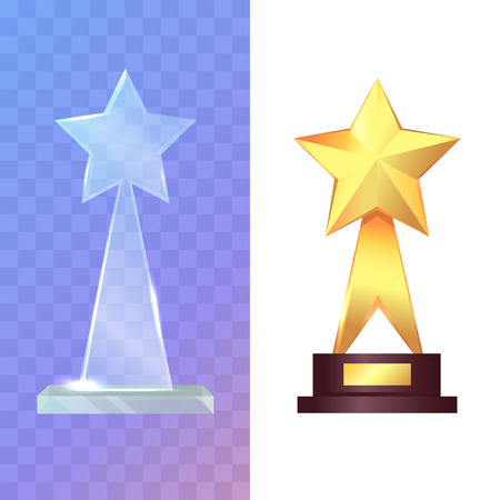 recompense: Trophys. Two Awards. Glass and Golden Rewards