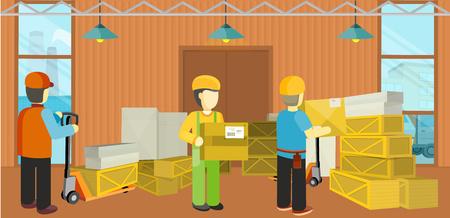 Équipement Processus de livraison de l'entrepôt. Déchargement Vecteurs
