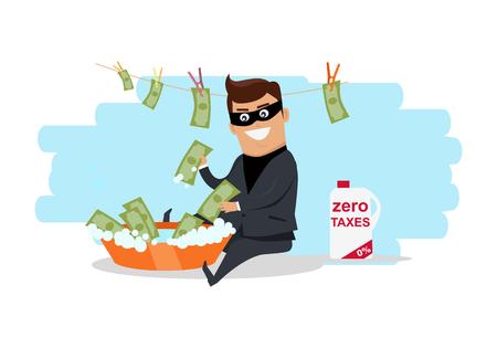 Money Laundering Concept Flat Design Vector Illustration