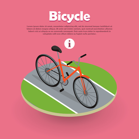 ecologically: Bicycle Icon Isometric Design on Road Web Banner.