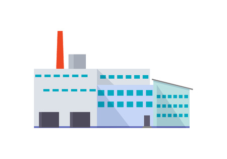 flat: Factory Building in Flat Illustration