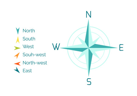 Compass Rose Vector Illustration dans Flat Design
