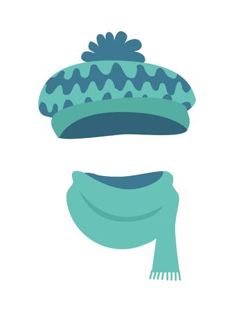 Hat. Stylish Warm Winter Headwear with Many Waves Stock Photo