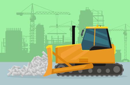 Bulldozer on Construction Flat Vector Concept Illustration