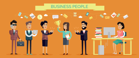 Business People Concept Vector in Flat Design Çizim