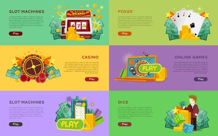 Slot Machines, Pocker, Online Games, Dice Banners. Illustration