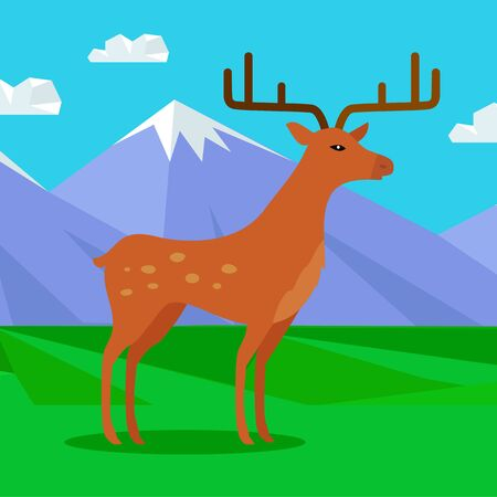 Fallow-deer in habitat Flat Design Illustration