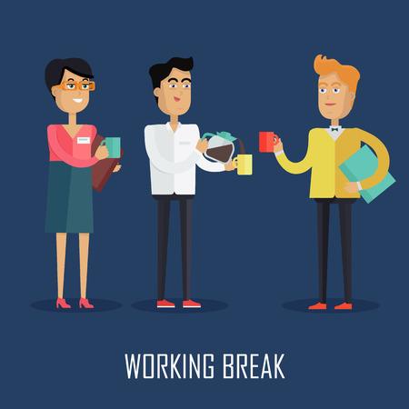 break in: Working Break Concept Vector in Flat Design Illustration
