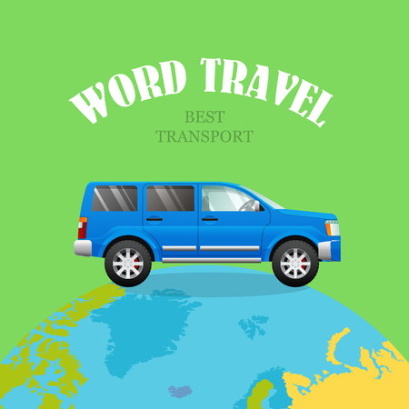 Blue Car on Planet. Green Background. World Travel
