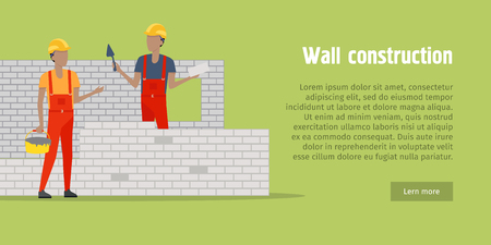 Wall Construction. Two men buildinng the wall