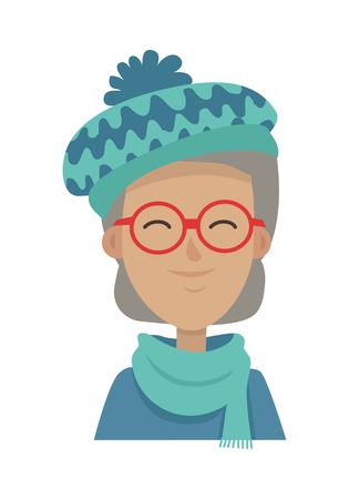 Smiling Old Woman in Blue-green Hat and Scarf Illustration