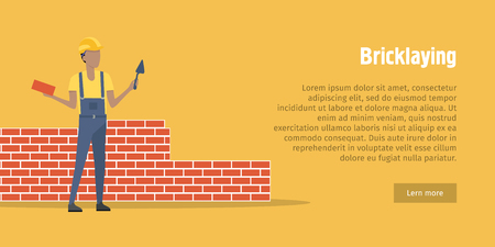 bricklaying: Bricklaying. Worker with spatula, brick in hands Illustration
