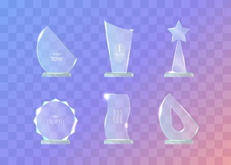 Trophy. Set of Different in Shape Glass Awards Vektoros illusztráció