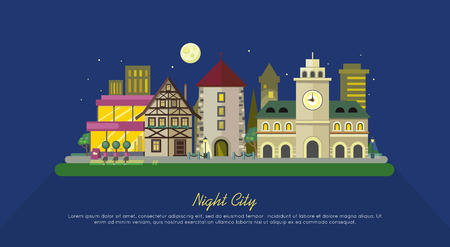 landscape architecture: Night city. City street vector illustration at night. Urban city landscape web banner. Building architecture in unusual fashionable design. Modern town. Metropolis panorama. Flat style poster