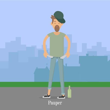 pauper: Pauper Men with Empty Pockets in City Park.