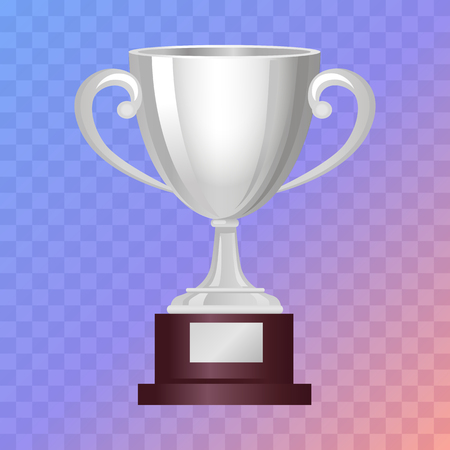 loot: Silver Cup on Big Base with Light Blue Background Illustration