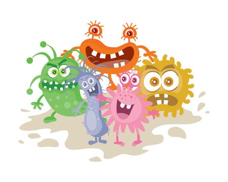 Conjunto de Monstruos de la historieta. Los gérmenes sonriente divertido.