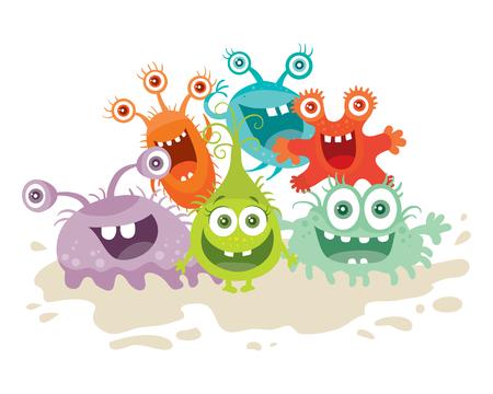 Reihe von Comic-Monster. Lustige Lächeln Germs.