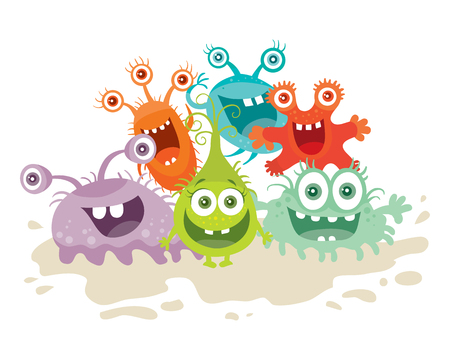 Set of Cartoon Monsters. Funny Smiling Germs.