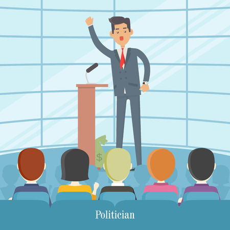 Politician Speaks to Audience from Tribune. Vector Illustration