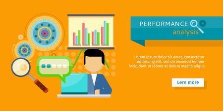 strategic: Performance analysis banner. Person working at laptop, making financial planning or generating report. Presentation of financial planning. Business man search for solutions infographics. Vector Illustration