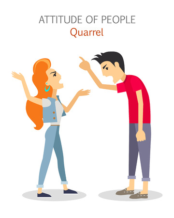 Attitude of people. Quarrel. Choleric type of human temperament vector. Flat Design. Woman and man emotionality arguing. People personality reactions and problems. For psychological tests illustrating Illustration