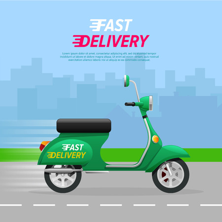 Fast Delivery. Green motorcycle on asphalt road. Contemporary fast two-wheeled mean of transportation driving quickly through city. A lot of high buildings in flat design on blue background. Vector Иллюстрация