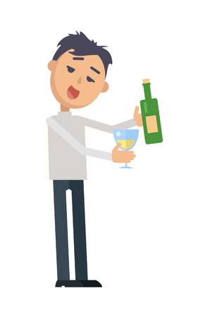 Drunk Woman with Glass of Wine Flat Vector Illustration